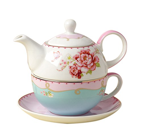 Jusalpha Bone China Teapot for One, Rose Teapot and Saucer Set, Pink Roses (Teapot Set 02) Reviews
