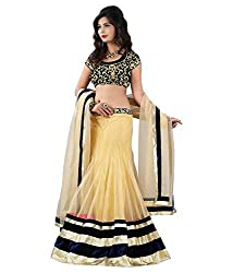 OMSAI FASHION Best Selling lehnga Cream Georgette Embroidery semi stitched Free Size Salwar Suit Dress Material