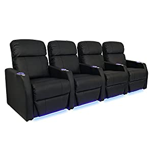 Seatcraft sienna black bonded leather home theater seating row of 4 seats manual Home theater furniture amazon