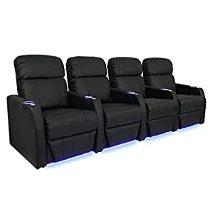 Seatcraft sienna black leather home theater seating row of 4 seats power recline Home theater furniture amazon