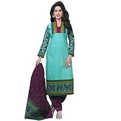 Sanjana Women's Blue Cotton Unstitch Embroidered Designer Dress Material (SC8701_Free Size_Blue)