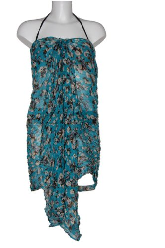 Tamari Blue Floral Sarong Beach Cover Up Wrap Dress One Size For Women