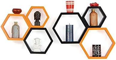 Forzza Sasha Wall Shelf, Set of 6 (Lacquer Finish, Black and Orange)