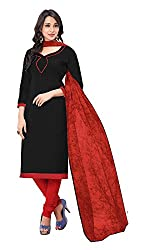 Jiya Presents Embroidered Cotton Dress Material (Black,Red)