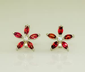 14k Gold Plated Sunflower Garnet Earring in Sterling Silver