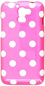 Aimo HWM931PCPD306 Trendy Polka Dot Hard Snap-On Protective Case for Huawei Premia M931 - Retail Packaging - Hot Pink/White