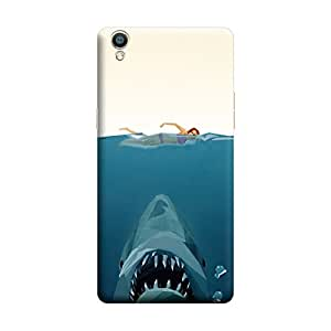 Oppo F1 Escaping From Sea Shark Premium Designer Polycarbonate Hard Back Case Cover with full Protection