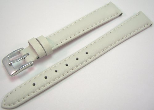White Padded Leather Watch Strap Band With A Stitched Edging And Nubuck Lining 12mm