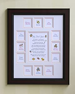 Baby's First Year Picture Photo Mat & Cherry Frame 11x14 - Girl (White/Pink)