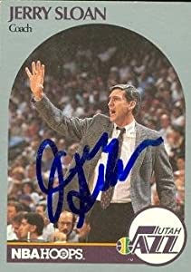 Jerry Sloan Autographed Hand Signed Basketball Card (Utah Jazz) 1990 Hoops #330 by Hall of Fame Memorabilia