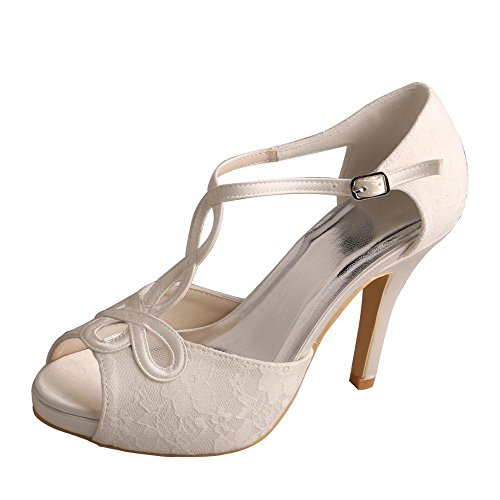 Wedopus MW312 Women's Evening Party Peep Toe High Heel Platform Lace Wedding Sandals Shoes for Bride Size 6 Ivory