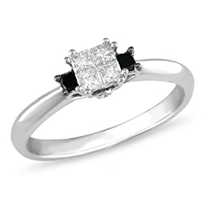 1/3 ct.t.w. Black and White Diamond Ring in 10k White Gold, I1-I2, G-H-I