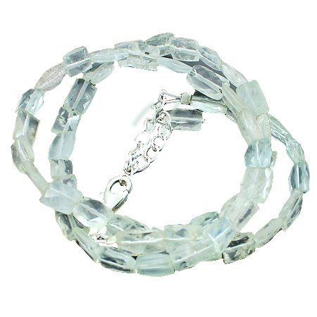 925 Sterling Silver Rectangle Aquamarine Gemstone Beads Strand Necklace Size 18 Inches