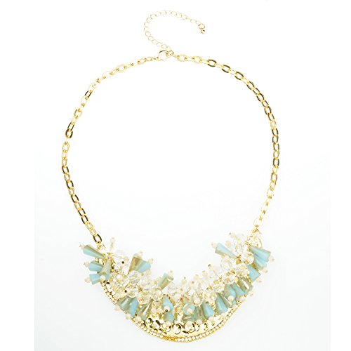 Btime New Dazzle Colour Crystal Female Luxury Clavicle Short Chain Exaggerated Fashion Necklace(blue)