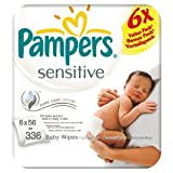 Pampers Sensitive Baby Wipes - 6 x Packs of 56 (336 Wipes)