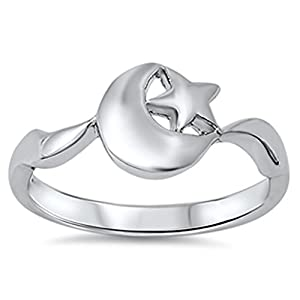 Sterling Silver Ring - Moon and Star