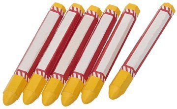 6 Piece Yellow Marking Crayons for Lumber, Wood Posts, Masonry, Steel and More - 1