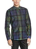 Belstaff Camisa Hombre Grid (Azul / Verde)