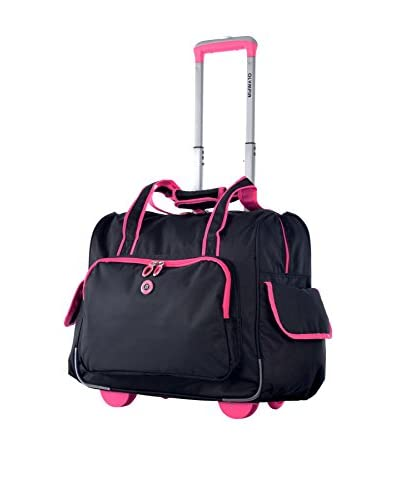 Olympia Deluxe Fashion Rolling Overnighter, Black/Pink
