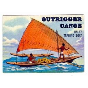 1955 Topps Rails and Sails Trading Cards #150 Outrigger Canoe Malay Trading Boat