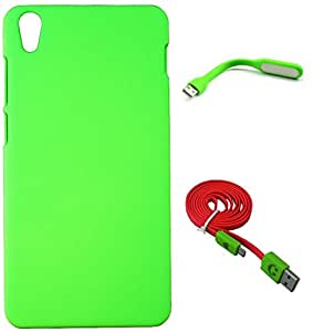 FCS Rubberised Hard Back Case For Lenovo S850 With USB LED Lamp And Wide Strip 1 Meter Data Cable