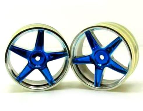 Redcat Racing Chrome Front 5 Spoke Blue Anodized Wheels (2 Piece)