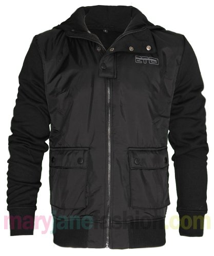 Mens Black Eto Branded Contrast Sleeve Ribbed Zip Up Hoodie Coat Jacket XL
