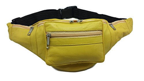 greenpinkredyellowtan-genuine-leather-fanny-pack-travel-pouch-waist-hip-bag-yellow