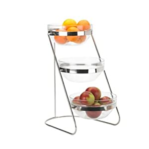 3 Tiered Display Server Stand Set Stainless Steel with Round Glass Containers