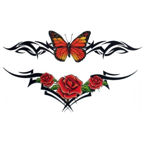Inkjet temporary tattoo paper. Glitter Butterfly and Roses Temporary Tattoo