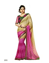 Aarti Latest Fashionable Party Wear Fancy Saree Bridal Embroidery Saree Wedding Wear Free Size - B00XA0890A
