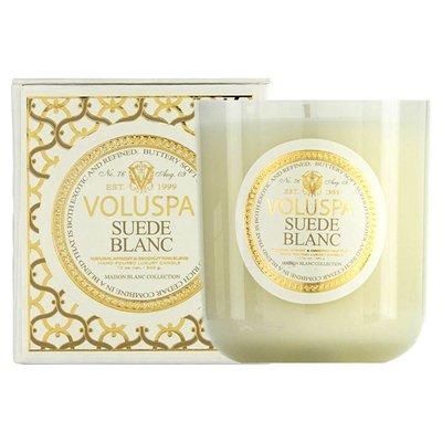 Voluspa Suede Blanc Classic Maison Candle, 100 hour 12 oz