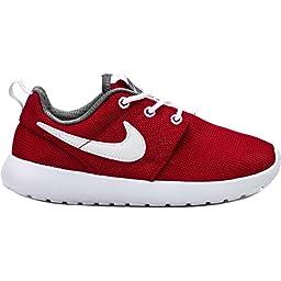 Nike Toddlers Rosherun (Infant /Toddler) Running Shoe ~ Roshe ~ Gym Red/White/Dark Grey (8)