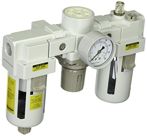 PneumaticPlus SAU4000M-N04G Three-Unit Combo Compressed Air Filter Regulator Lubricator FRL, Air Preparation Unit 1/2