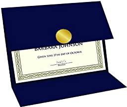 Geographics Navy Blue Linen Certificate Holders Tri-Fold, 9.25 x 12.5 Inches, Navy Blue, 5 Pack (47837)