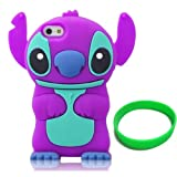 DE Cute 3D Cartoon Animal Series iPhone 5C Case New Purple 3D Cartoon Stitch Movable Ear Shape Style Soft Silicone Rubber Case Protective Cover for Apple iPhone 5C With Wristband Gift