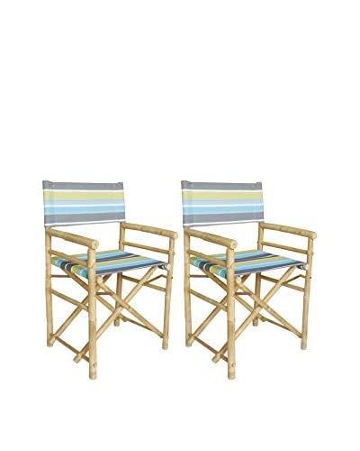 ZEW, Inc. Set of 2 Bamboo Director Chairs, Green Stripes