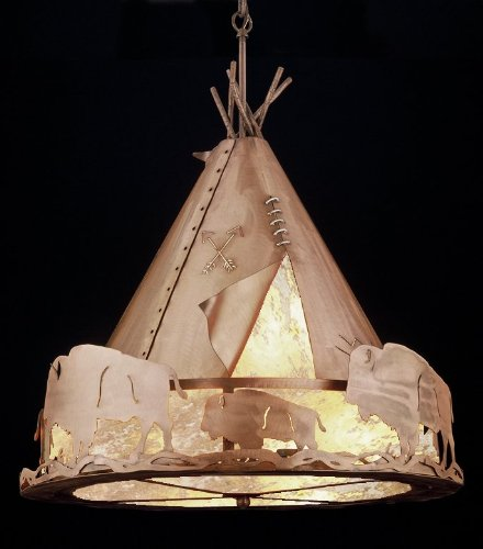 Meyda Tiffany Custom Lighting 32120 Teepee with Buffalo 4Light Pendant, Antique Copper Finish with Silver Mica Panels Picture