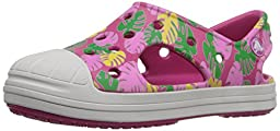 crocs Bump It Tropical Sandal (Toddler/Little Kid), Candy Pink/Oyster, 9 M US Toddler