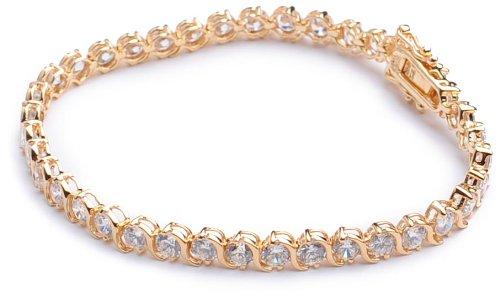 Silver Gold Plated Cubic Zirconia Set Swirl Tennis Bracelet of Length 19.5cm