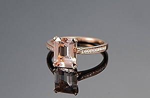 Emerald Cut Morganite Engagement Ring Pave Diamond Wedding 14K Rose Gold 6x8mm