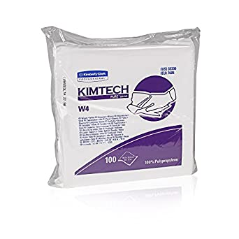 Kimtech Pure W4 Critical Task Wipers (33330), Anti-Stat, Double Bag, White Disposable Wipes, 5 Packs of 100 Wipes / Case