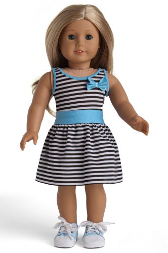 Doll Clothes Striped Dress With Blue Waist Fits 18 Inches American Girl Dolls - 1