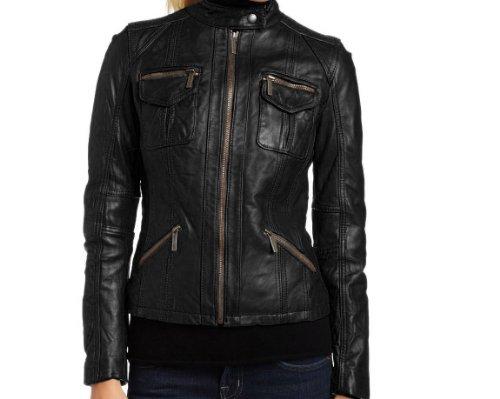 Handmade Fitters Multi Pockets Leather Jacket for Women - Medium - Black