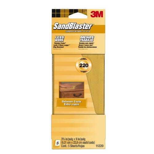 3M SandBlaster Between Coats Sandpaper, 220-Grit, 5-Pack