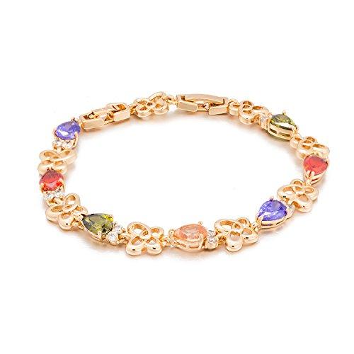 Romantic Time Garland Butterfly Linked Colorful Gemstone Studded Link Bracelet (Purple)