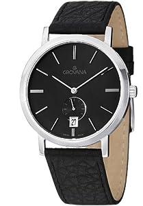 GROVANA 1050.1537 - Reloj de pulsera hombre, piel, color negro
