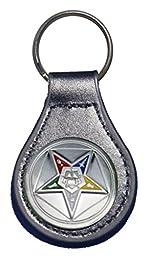 Eastern Star Masonic leather key fob or keychain Black