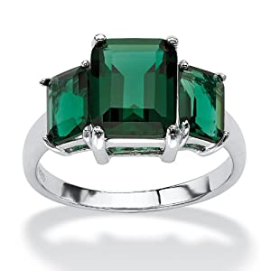 Emerald-Cut Green Glass Sterling Silver Mount St. Helens Inspired Triple-Stone Ring