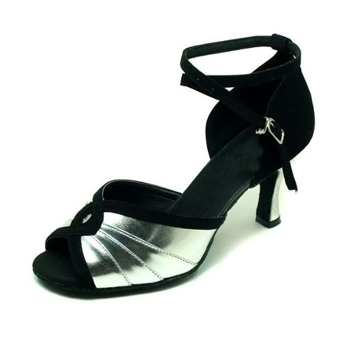 Colorfulworldstore Silver PU Folding clip Black satin Ladies Ballroom Latin dance shoes